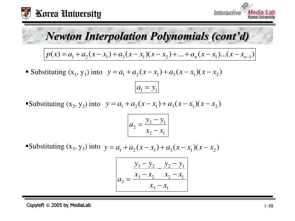 Newton Interpolation Polynomials (cont'd)