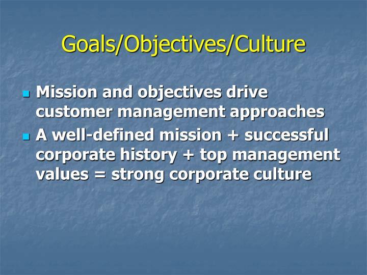 Goals/Objectives/Culture