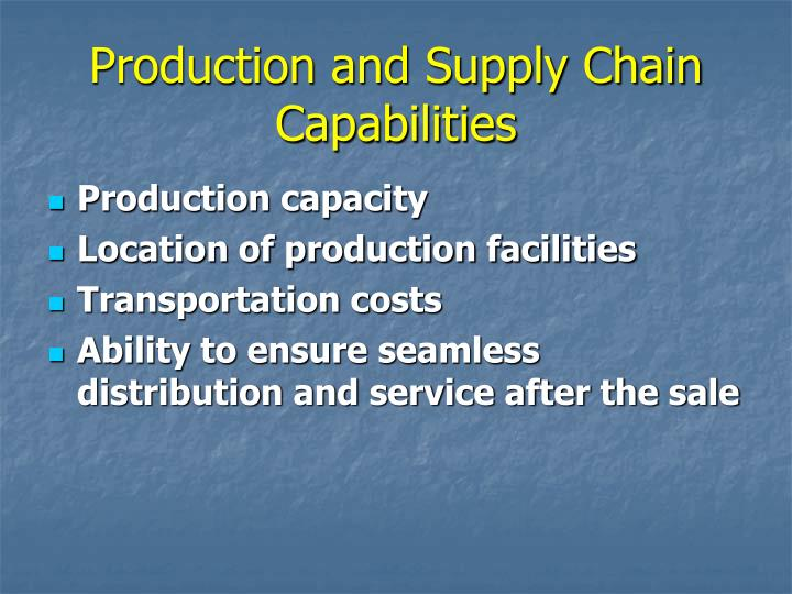 Production and Supply Chain Capabilities