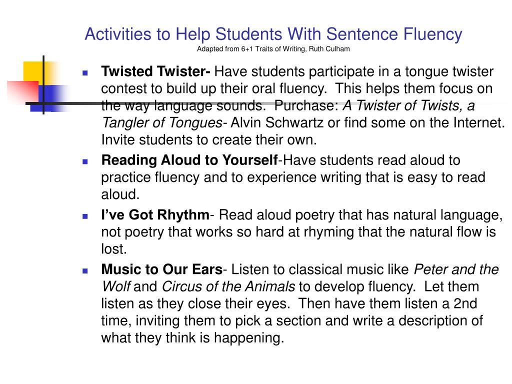 Activities to Help Students With Sentence Fluency