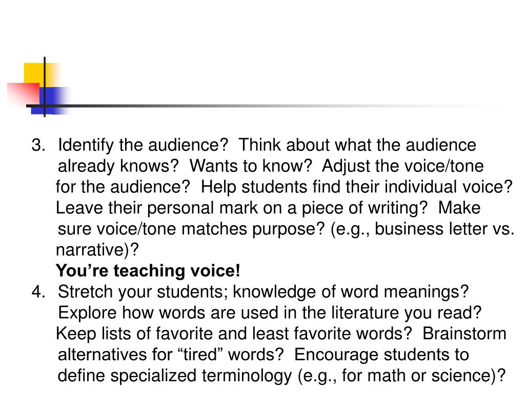 Identify the audience?  Think about what the audience