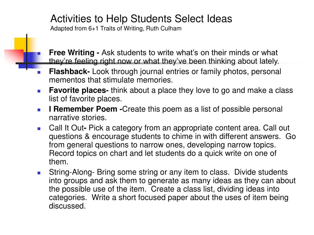 Activities to Help Students Select Ideas