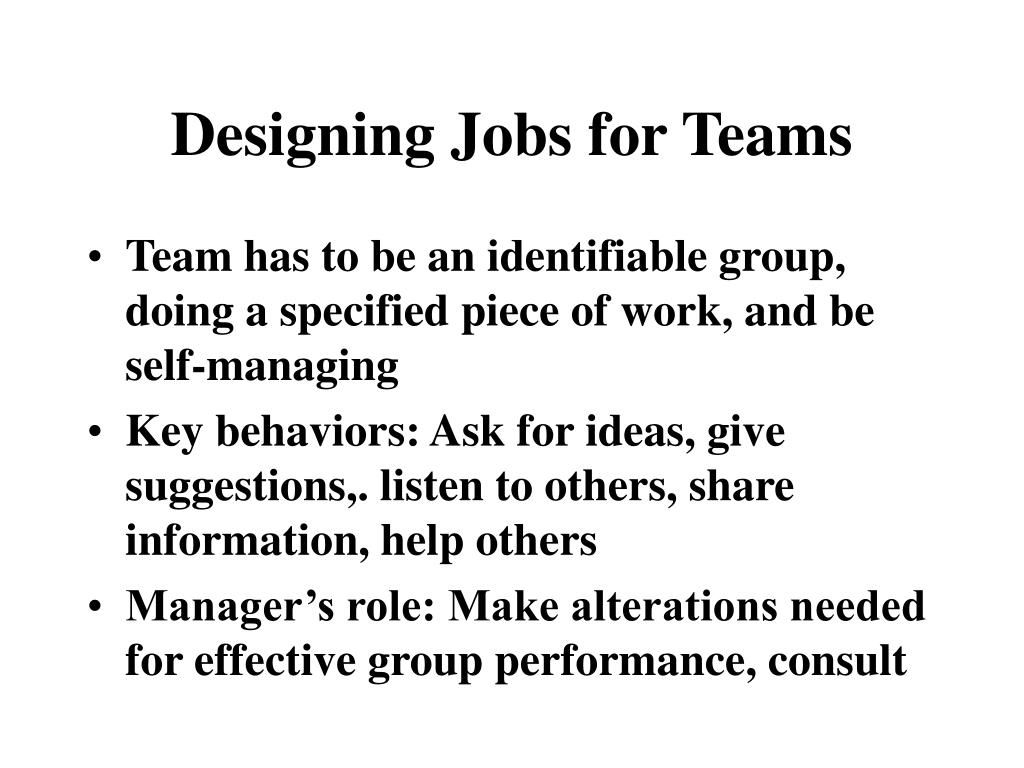 Designing Jobs for Teams