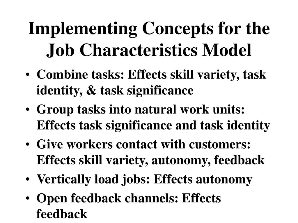 Implementing Concepts for the Job Characteristics Model