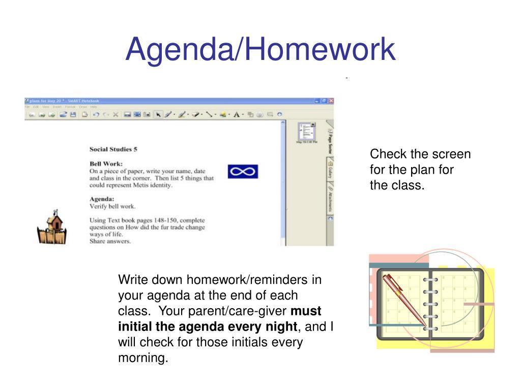 Agenda/Homework