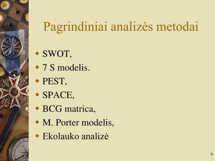 Pagrindiniai analizės metodai