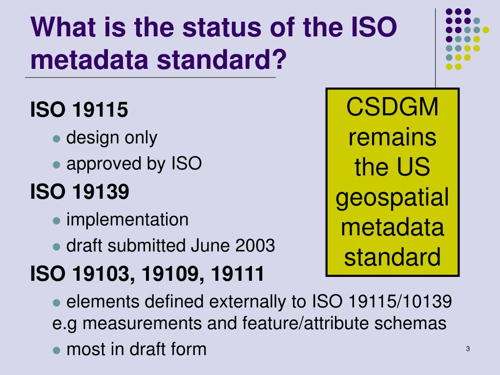 What is the status of the ISO metadata standard?