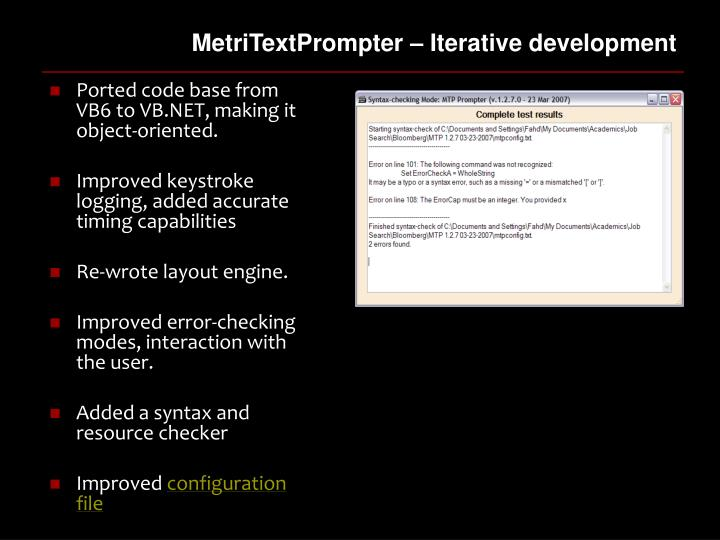 MetriTextPrompter – Iterative development