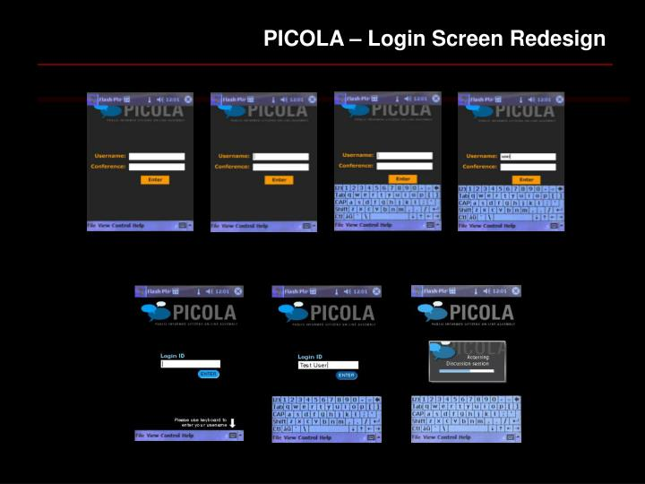 PICOLA – Login Screen Redesign