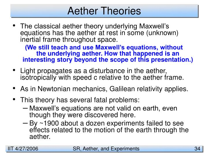 Aether Theories