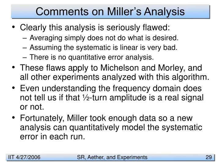 Comments on Miller's Analysis