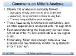 comments on miller s analysis