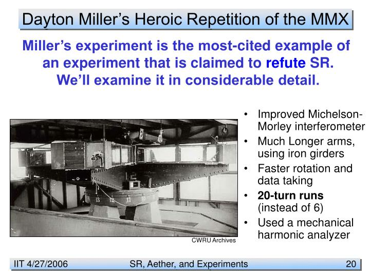 Dayton Miller's Heroic Repetition of the MMX