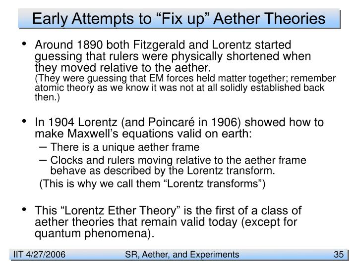"Early Attempts to ""Fix up"" Aether Theories"