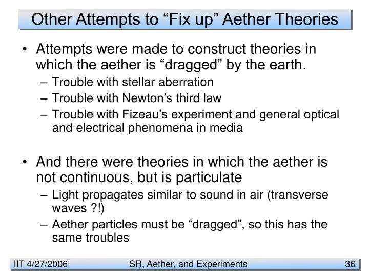 "Other Attempts to ""Fix up"" Aether Theories"