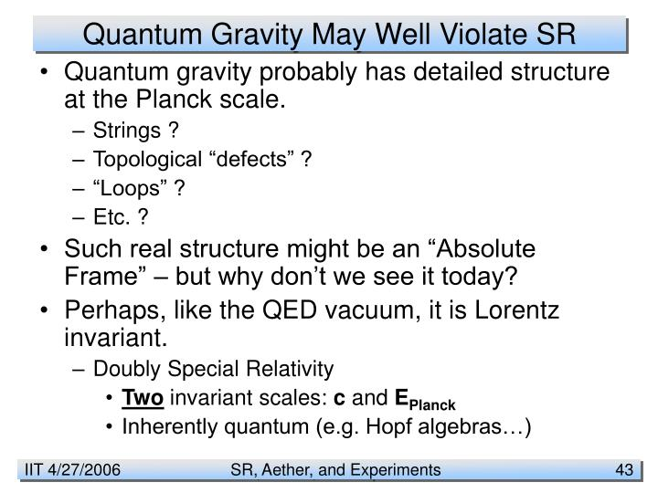 Quantum Gravity May Well Violate SR
