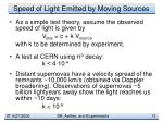 speed of light emitted by moving sources