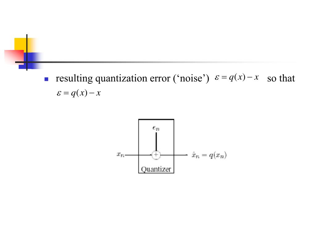 resulting quantization error ('noise')                      so that
