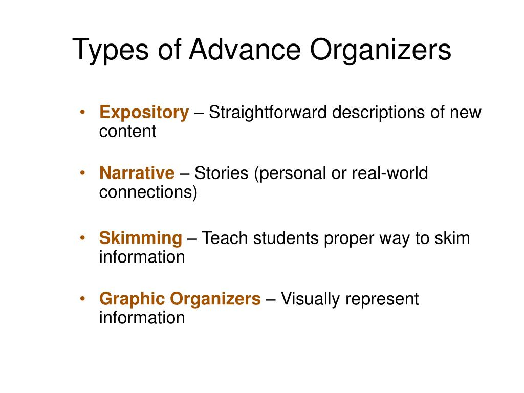 Types of Advance Organizers