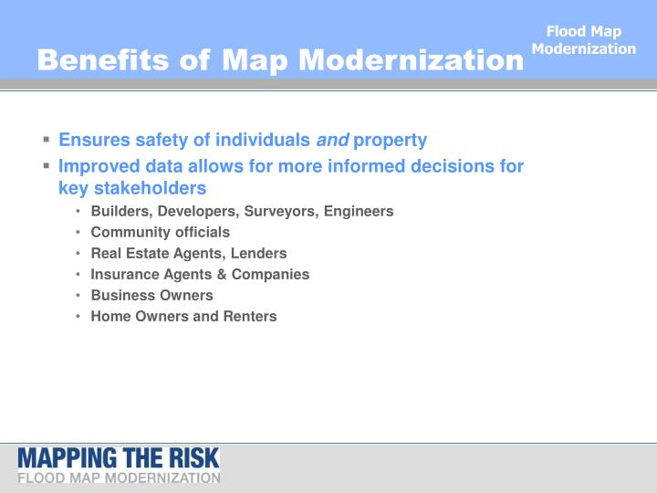 Benefits of Map Modernization