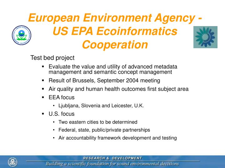 European Environment Agency -  US EPA Ecoinformatics Cooperation