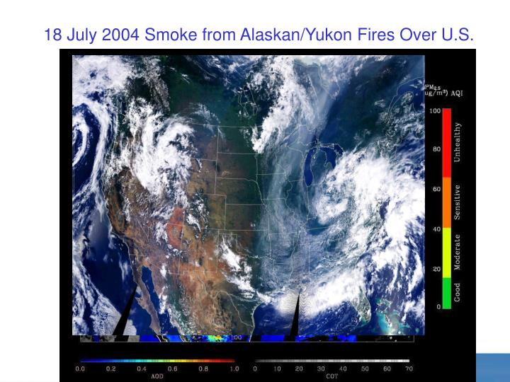 18 July 2004 Smoke from Alaskan/Yukon Fires Over U.S.
