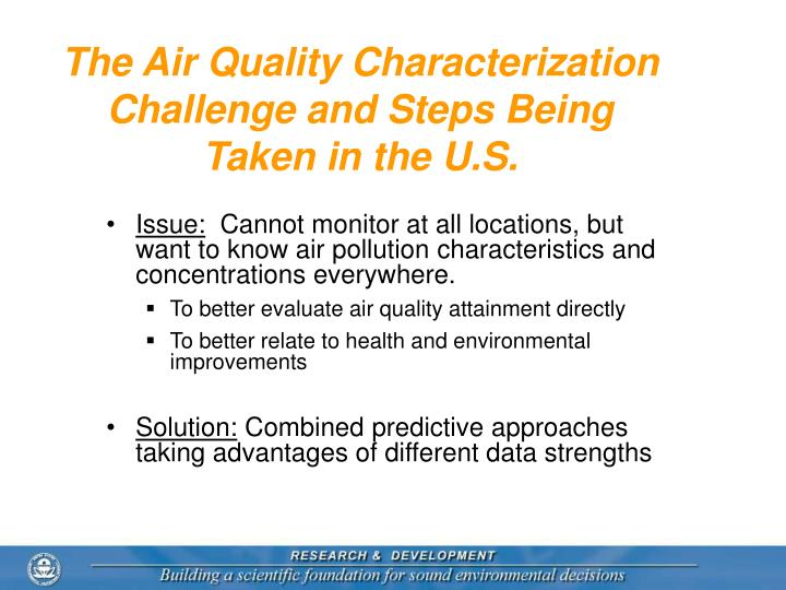 The Air Quality Characterization Challenge and Steps Being Taken in the U.S.