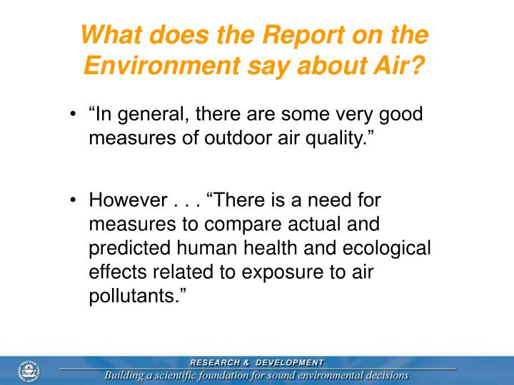 What does the Report on the Environment say about Air?