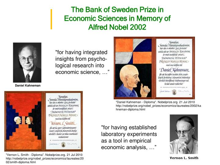 The Bank of Sweden Prize in Economic Sciences in Memory of Alfred Nobel 2002