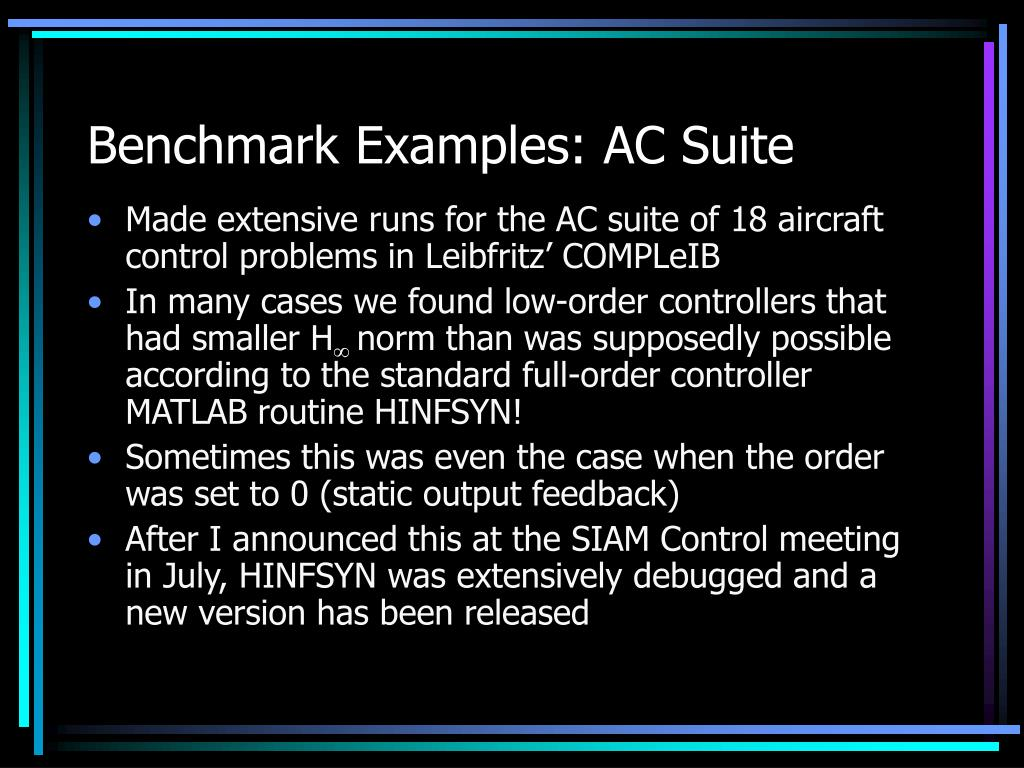 Benchmark Examples: AC Suite