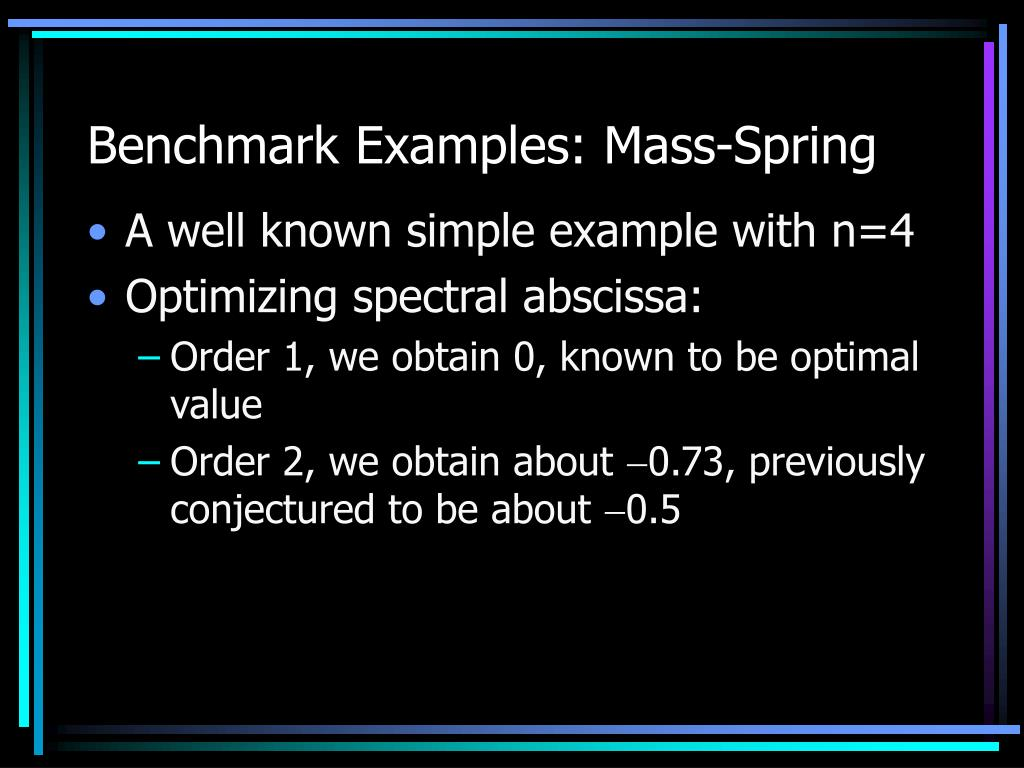 Benchmark Examples: Mass-Spring