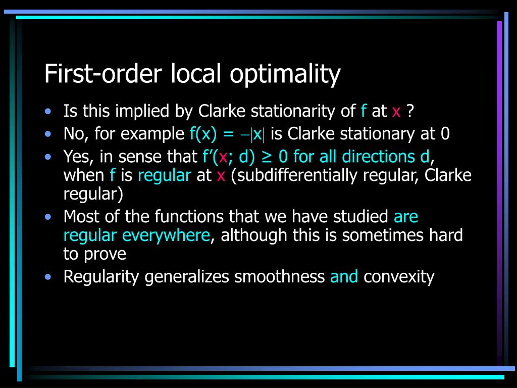 First-order local optimality