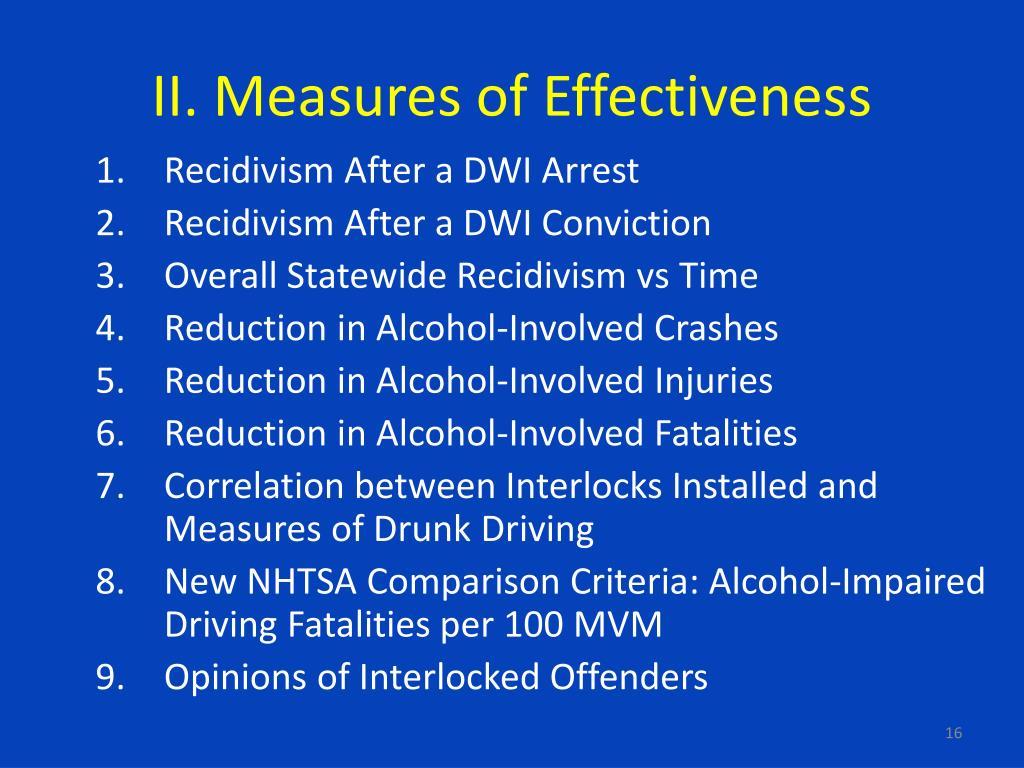II. Measures of Effectiveness