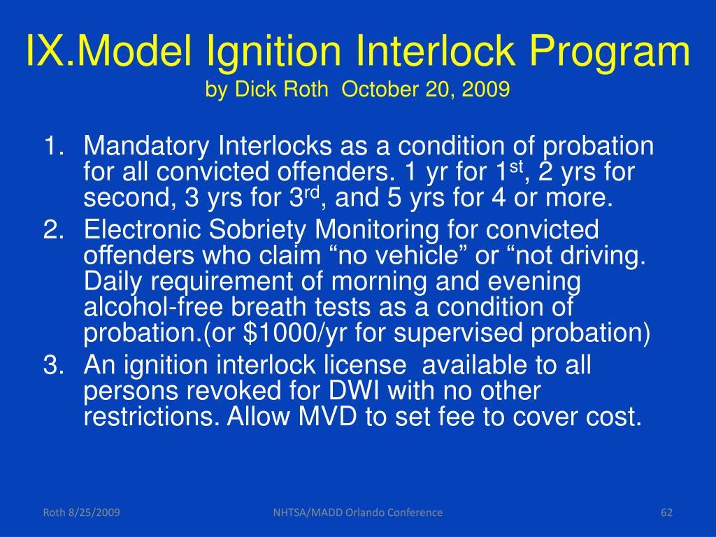 IX.Model Ignition Interlock Program