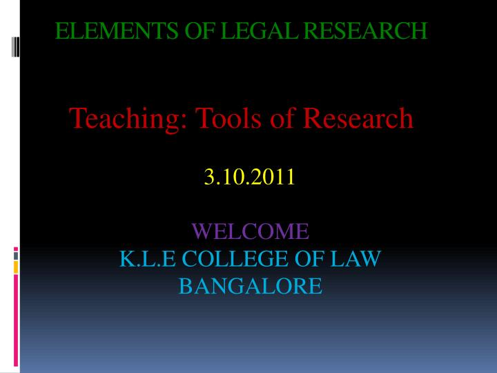 Elements of legal research