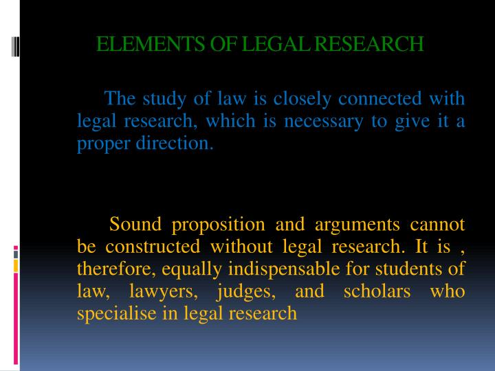 Elements of legal research1