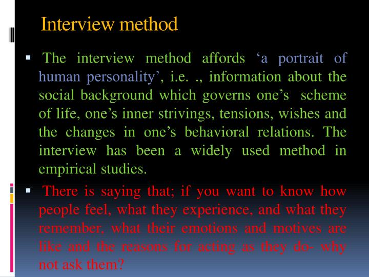 Interview method