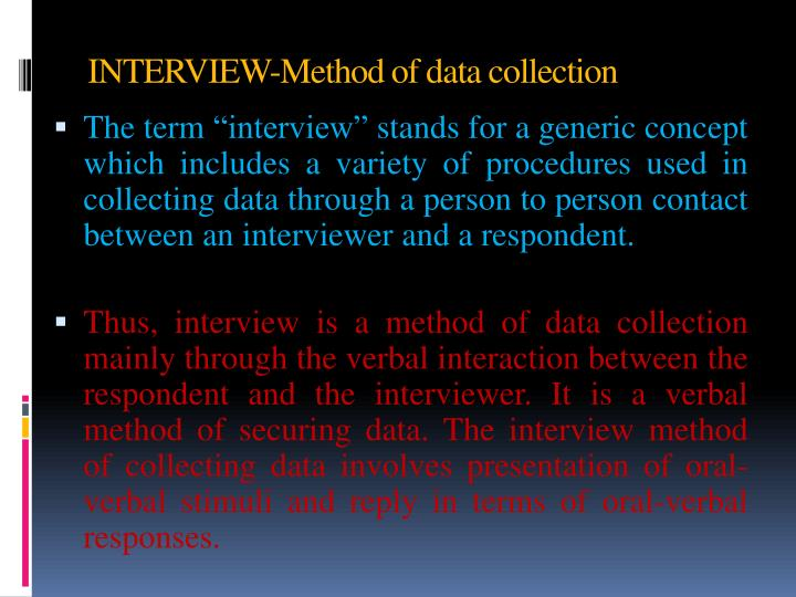 INTERVIEW-Method of data collection