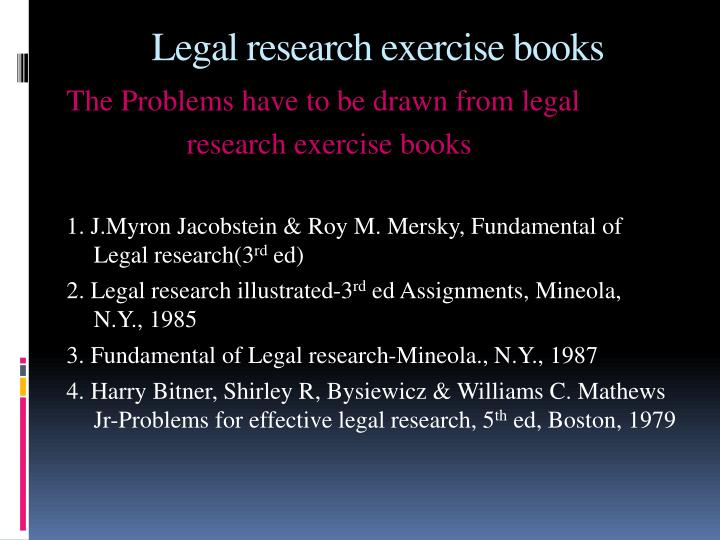 Legal research exercise books