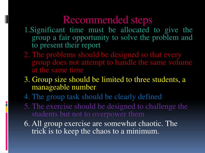 Recommended steps