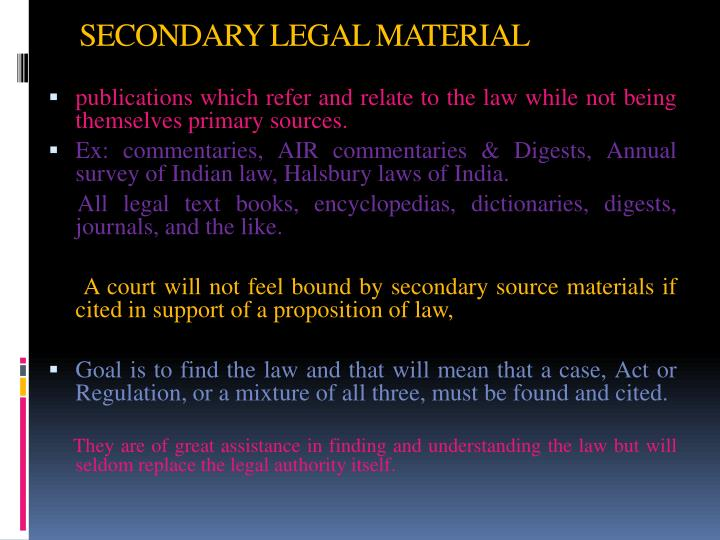 SECONDARY LEGAL MATERIAL