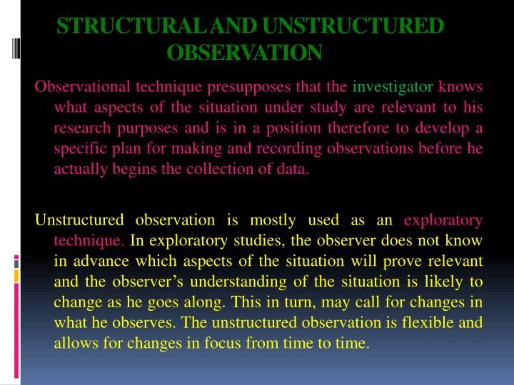 STRUCTURAL AND UNSTRUCTURED