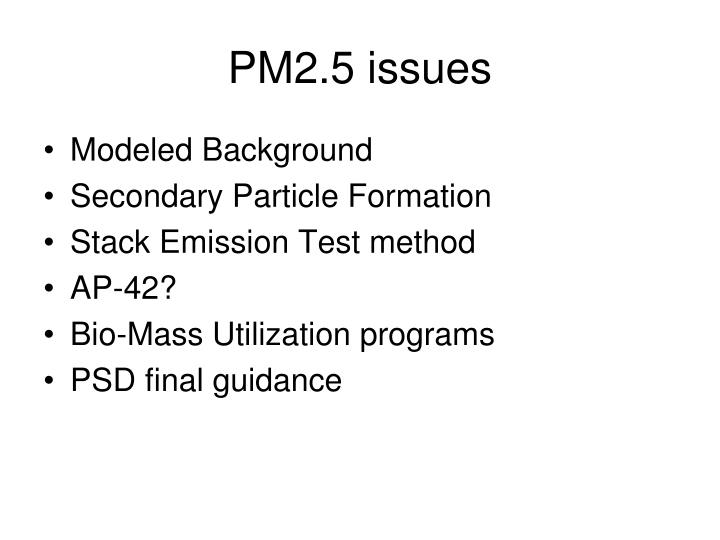 PM2.5 issues