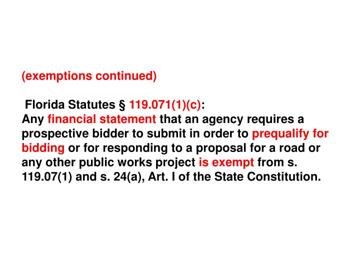 (exemptions continued)