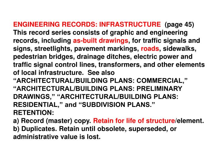 ENGINEERING RECORDS: INFRASTRUCTURE