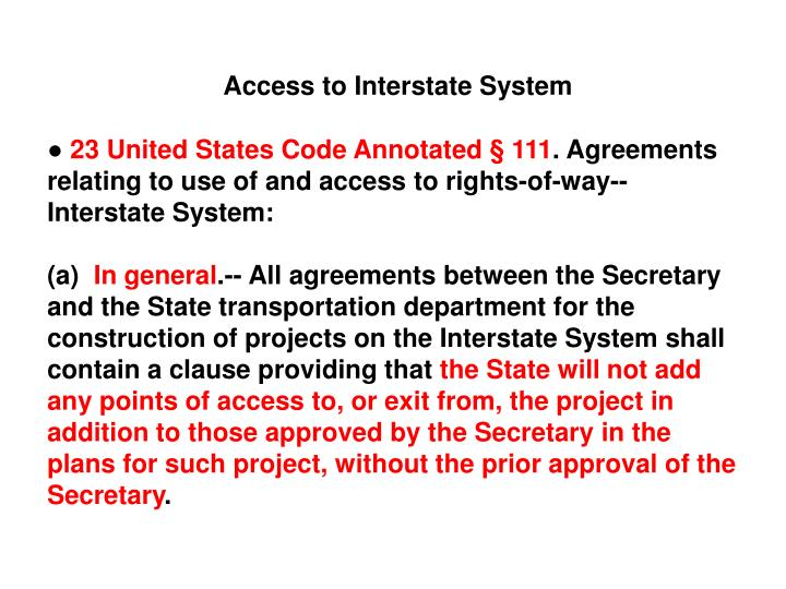 Access to Interstate System