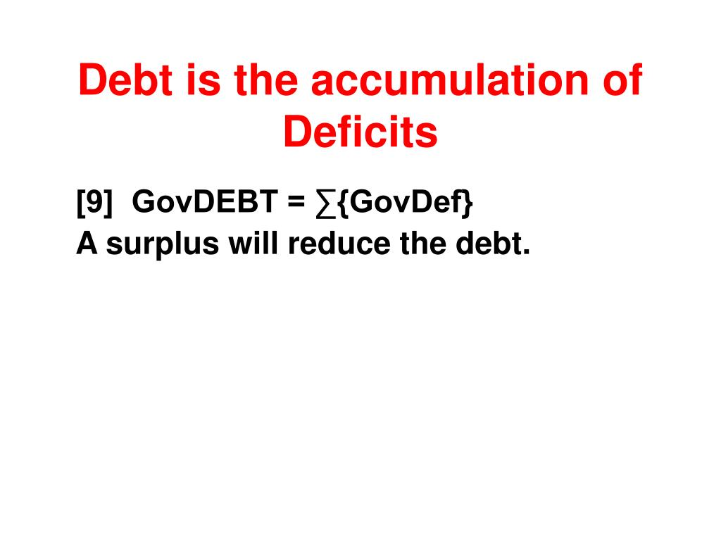 Debt is the accumulation of Deficits
