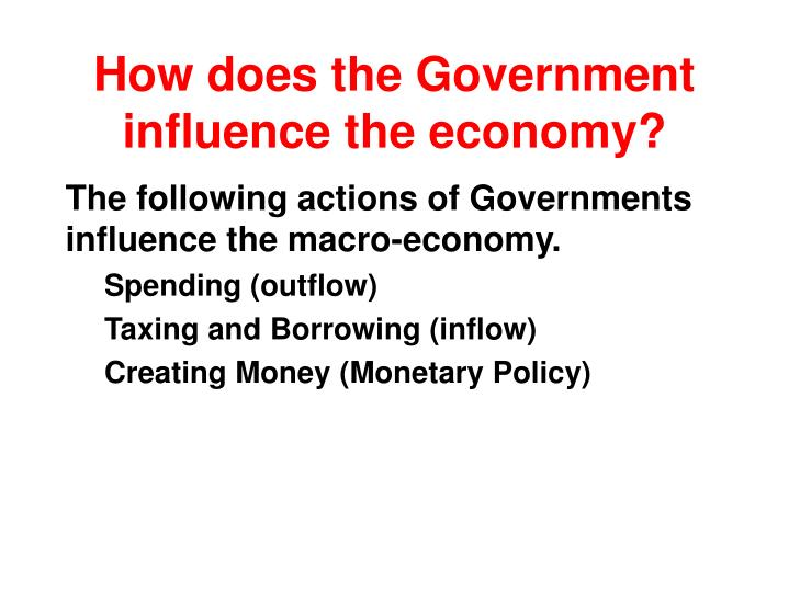 How does the government influence the economy