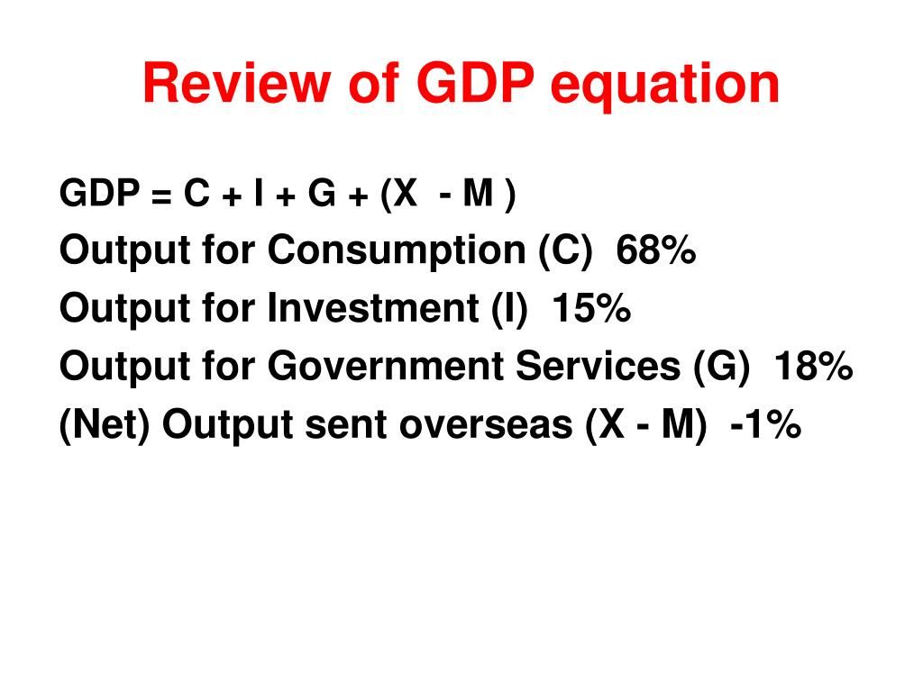Review of GDP equation