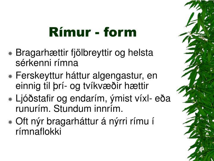 Rímur - form